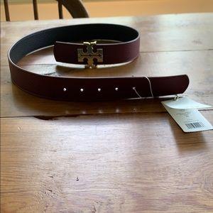 Maroon Tory Burch reversible belt
